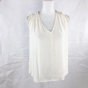 Ann Taylor Factory Ivory SML Sleeveless V-Neck Top